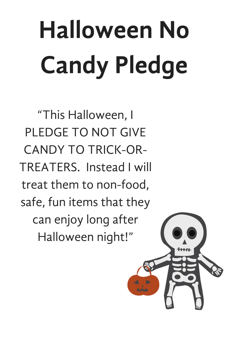Take the Halloween No Candy Pledge! Also see loads of Halloween Candy Alternatives!