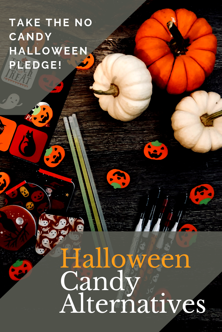 Take the Halloween No Candy Pledge! There are so many great Halloween Candy Alternatives out there and we are sharing loads of them!