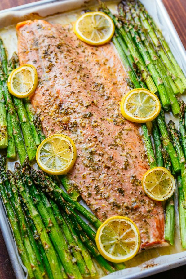 Salmon and Asparagus with Garlic Herb Butter by Dish on Fish