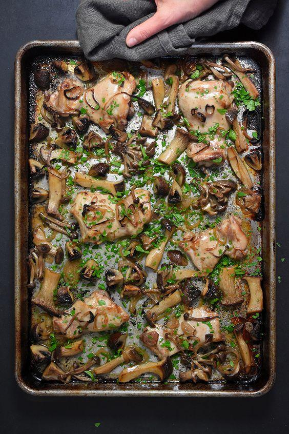 Sheet Pan Chicken and Mushrooms by Nom Nom Paleo
